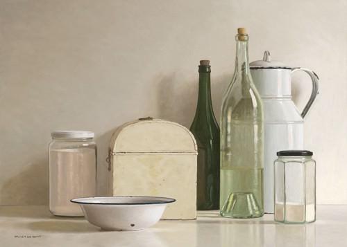 2 jars, 2 bottles, jug, tin box and bowl von Willem de Bont