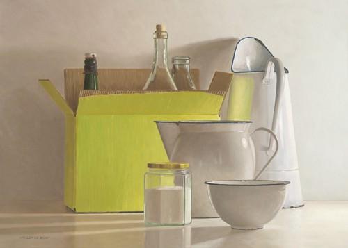 Still life with yellow box, bottles and von Willem de Bont
