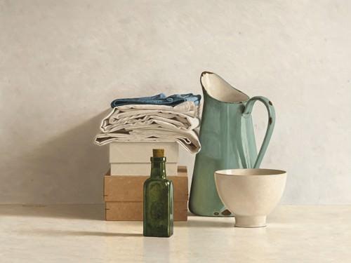 Two Boxes, Cloths, Bottle, Jug and Bowl von Willem de Bont