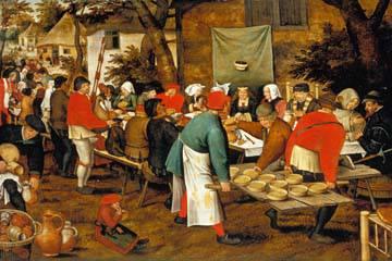 Bauernmahlzeit vor einer Schänke von Pieter d. Ä. Brueghel
