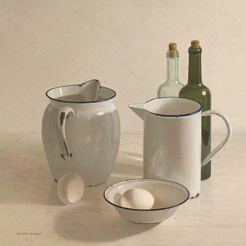 2 jugs, 2 bottles, 2 eggs and a bowl von Willem de Bont