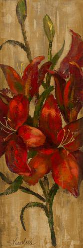 Vivid Red Lily on Gold von Silvia Vassileva