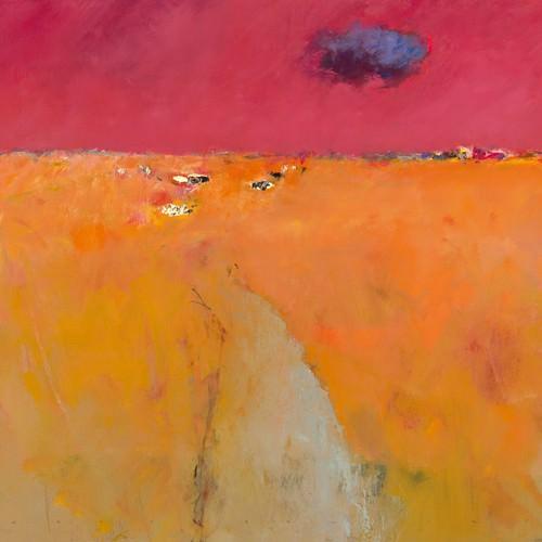 Landscape in orange and red von Jan Groenhart