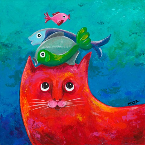 Funny Kitty and Fish von Y. Hope