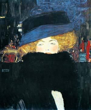 Bildnis einer Frau mit Hut und von Gustav Klimt