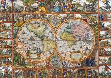 Erdkarte in Hemisphären von Janz Claes Visscher