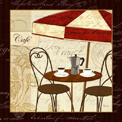Petit Cafe I with Border von Veronique Charron