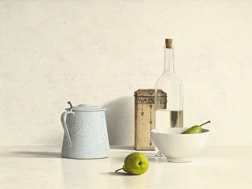 Two Pears, Bottle, Can and Jug von Willem de Bont