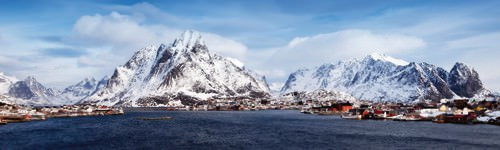 Lofoten Reine Panorama Detail von Rolf Fischer
