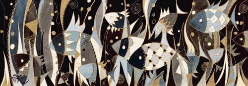 Poissons noir et gris von Martine Wentzeis