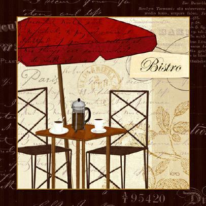 Petit Cafe II with Border von Veronique Charron