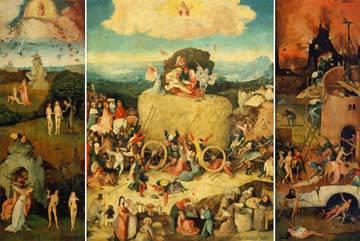 Triptychon der Heuwagen von Hieronymus Bosch