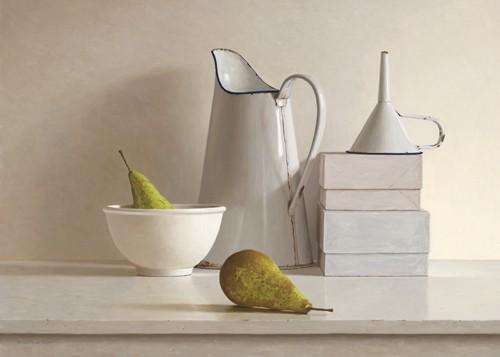 2 pears, 2 boxes, jug, bowl and funnel von Willem de Bont