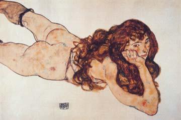 Auf dem Bauch liegender Akt von Egon Schiele