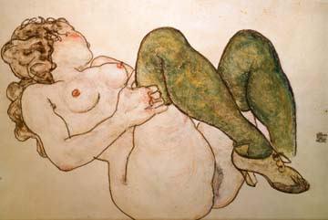 Akt mit grünen Strümpfen von Egon Schiele