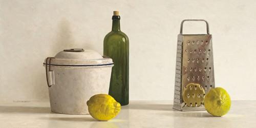 Two Lemons, Rasp, Bottle and Pot von Willem de Bont