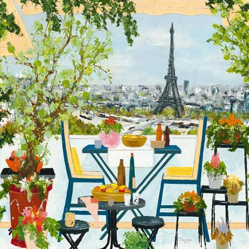Terrasse fleurie sur la Seine von BORDERIE
