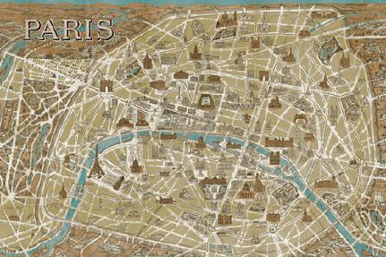 Monuments of Paris Map - Blue von Wild Apple Portfolio