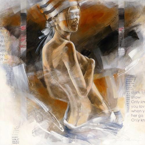 Girl with Striped Hat von Kitty Meijering