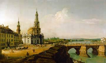 Dresden, Blick vom Elbe-Ufer von Canaletto