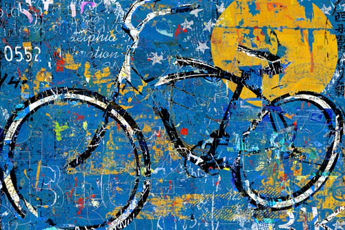 Blue Graffiti Bike von Daryl Thetford