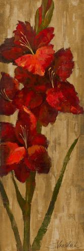 Vivid Red Gladiola on Gold von Silvia Vassileva