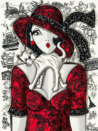 Chat sur robe rouge von MIROTA