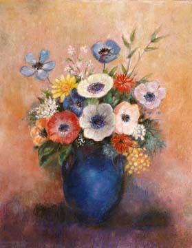 Blumen in einer blauen Vase von Odilon Redon