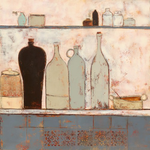 French bottles with French tiles von Anji Allen