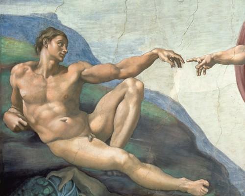 Die Erschaffung des Adams (Detail) von Michelangelo